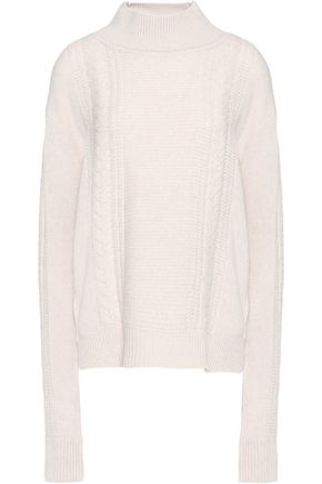 DUFFY Asymmetric cable-knit wool and cashmere-blend sweater