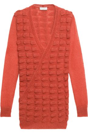 VIONNET Wrap-effect jacquard-knit mohair-blend sweater