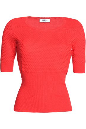 CARVEN Paneled ribbed and textured wool-blend sweater