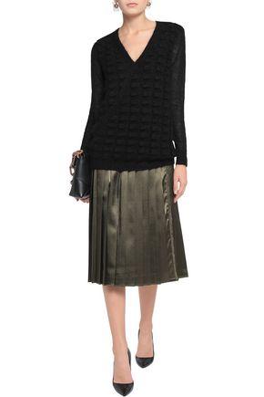 VIONNET Wrap-effect jacquard-knit mohair-blend sweater