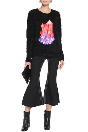 CARVEN Printed-paneled knitted sweater