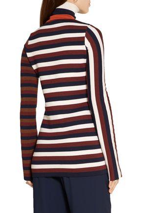 VICTORIA BECKHAM Striped stretch wool-blend turtleneck sweater
