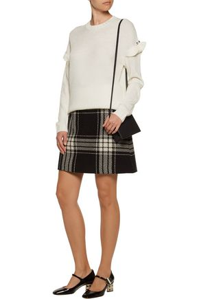 MOTHER OF PEARL Freda embellished waffle-knit wool-blend sweater