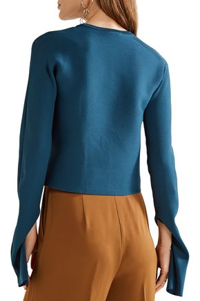 TIBI Asymmetric ribbed-knit sweater