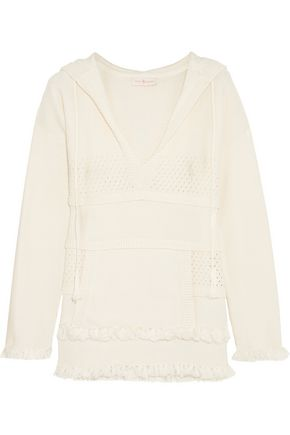 TORY BURCH Baja open knit-paneled cotton hooded sweater