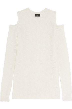 LINE Cold-shoulder open-knit cotton and linen-blend sweater