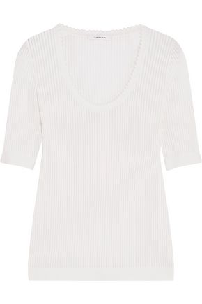 CARVEN Ribbed cotton and silk-blend top