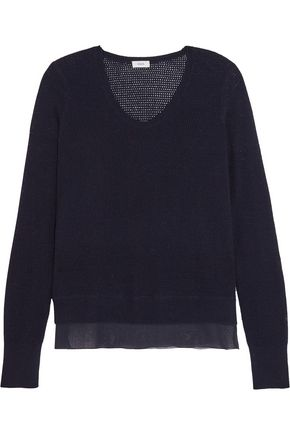 VINCE. Silk-crepe and pointelle-knit wool and cashmere-blend sweater