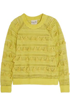 SEA Tasseled open-knit cotton sweater