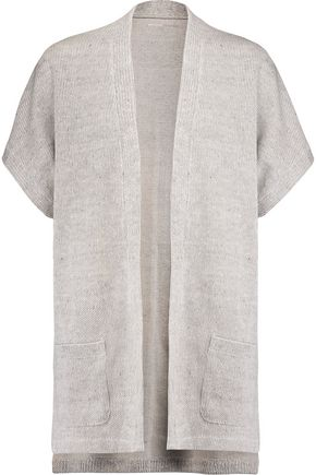 MAJESTIC Ribbed linen and cotton-blend cardigan