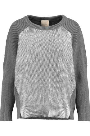 MICHELLE MASON Paneled ribbed cashmere-blend sweater