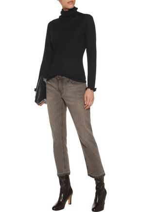 N.PEAL Ruffle-trimmed cashmere and silk-blend turtleneck sweater