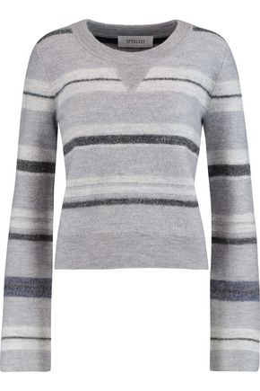DEREK LAM 10 CROSBY Fluted striped wool-felt sweater
