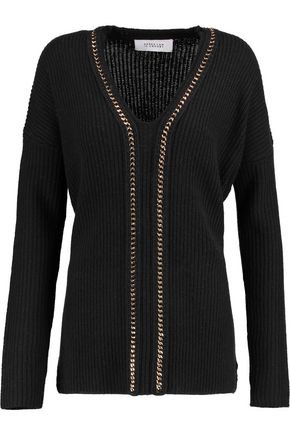 10 CROSBY DEREK LAM Chain-embellished ribbed wool and cashmere-blend sweater