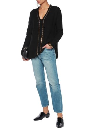 DEREK LAM 10 CROSBY Chain-embellished ribbed wool and cashmere-blend sweater