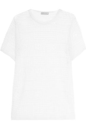 NINA RICCI Semi-sheer crocheted silk top