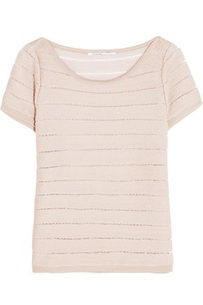 AGNONA Striped wool-blend and mesh top