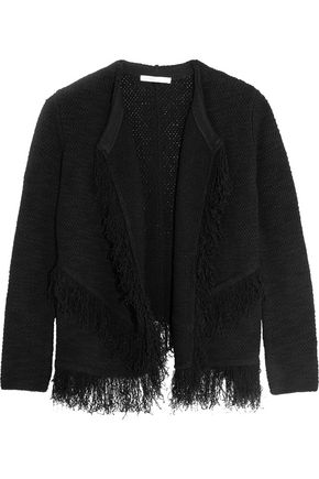 MAJE Maldives fringed cotton-blend cardigan