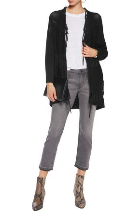 MAJE Fringed paneled knitted cardigan