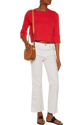MAJE Cropped textured-knit sweater