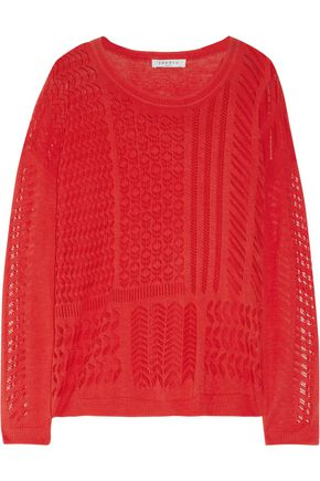 SANDRO Sonic paneled open-knit cotton sweater