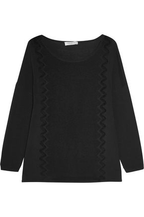 SANDRO Open knit-trimmed mesh and stretch-knit sweater