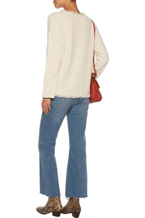 SANDRO Saria frayed cotton-blend terry sweater