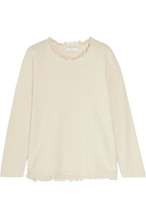 SANDRO Paris Saria frayed cotton-blend terry sweater