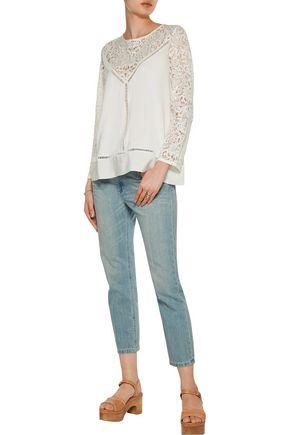 SANDRO Stone lace and silk crepe de chine-paneled cotton sweater
