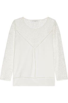 SANDRO Stone lace and silk crepe de chine-paneled cotton sweater