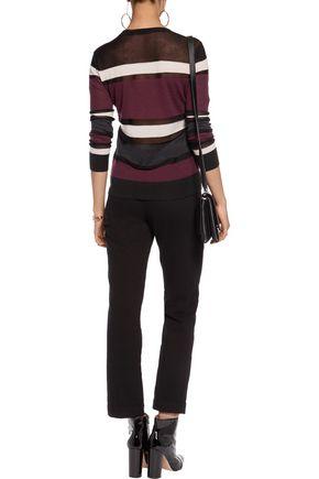 ... BAILEY 44 Rachel mesh-paneled striped wool-blend sweater