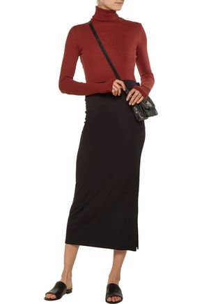ENZA COSTA Mélange cotton and cashmere-blend turtleneck sweater