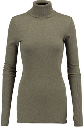 ENZA COSTA Mélange cotton and cashmere-blend turtleneck sweater