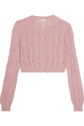 REDValentino Cropped crocheted cotton cardigan