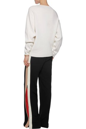 CHLOÉ Crochet-paneled cashmere and cotton-blend sweater