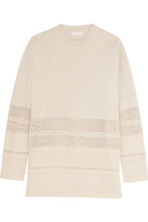 CHLOÉ Open-knit wool-paneled silk sweater