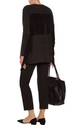 AUTUMN CASHMERE Fringed suede-trimmed cashmere cardigan