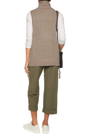 AUTUMN CASHMERE Lace-up knitted turtleneck top