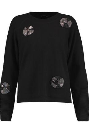 RAOUL Appliquéd paneled stretch-knit sweater