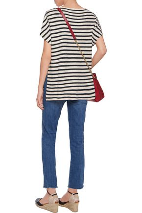 TORY BURCH Striped ribbed-knit top