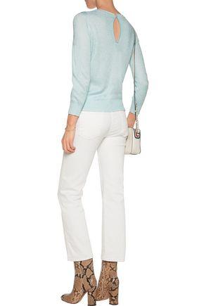MAJE Metallic cotton-blend jacquard sweater