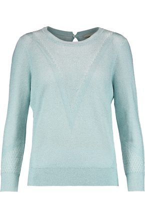 MAJE Metallic cotton-blend jacquard sweater