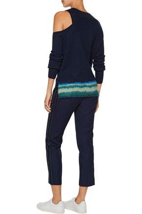 LA LIGNE Cold-shoulder cashmere-blend sweater