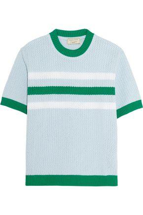 MAISON KITSUNÉ Striped cotton open-knit sweater