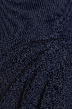 MAISON KITSUNÉ Paneled ribbed-knit sweater