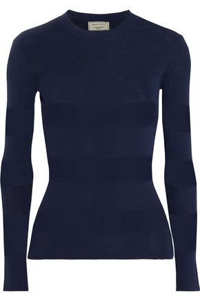 MAISON KITSUNÉ Paneled ribbed-knit sweater