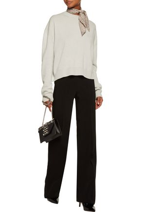 HAIDER ACKERMANN Paneled wool and cashmere-blend and silk-satin sweater