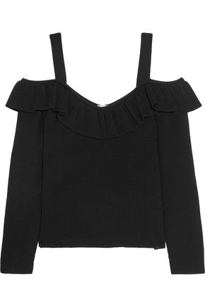 IRIS & INK Evie cold-shoulder ribbed-knit top