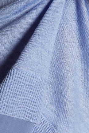 HALSTON HERITAGE Silk crepe de chine-trimmed stretch-knit sweater