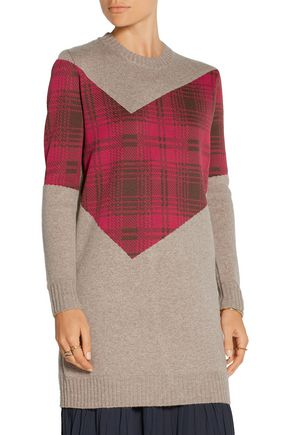 THAKOON ADDITION Addition tartan-paneled knitted sweater